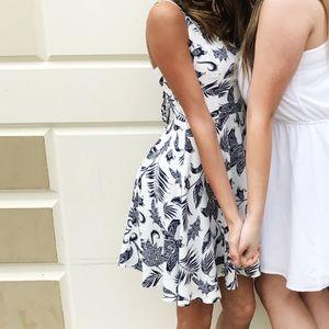 WHITE AND NAVY PRINT DRESS